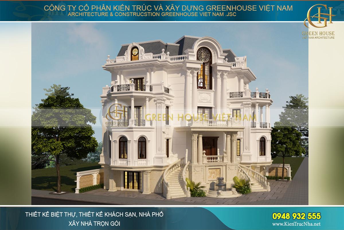 Biệt thự cổ điển 4 tầng được thiết kế với hệ mái mansard mang đến vẻ đẹp quyền lực, bề thế