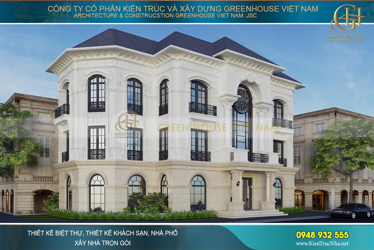 Biệt thự tân cổ điển 3 tầng tại Vinhomes Hà Nội sở hữu vị thế đẹp với 2 mặt tiền