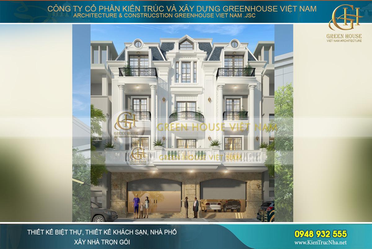 Thiết kế biệt thự tân cổ điển 4 tầng diện tích 260m2 phong cách kiến trúc Pháp đẹp đẳng cấp tại Bắc Giang