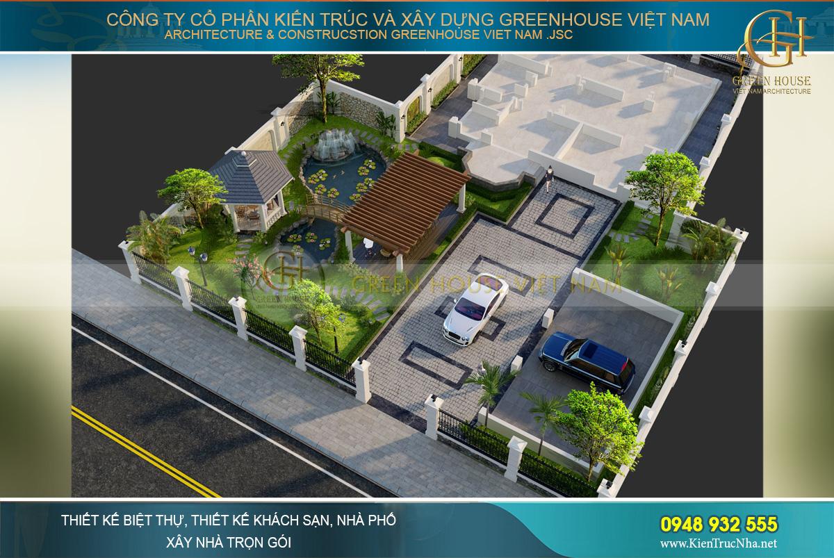Toàn cảnh khuôn viên thiết kế kiến trúc và thiết kế sân vườn biệt thự tân cổ điển 4 tầng