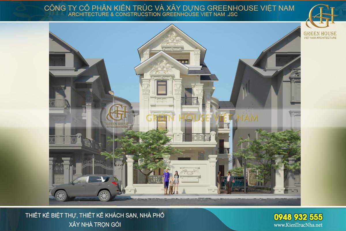 Phối cảnh mặt tiền của biệt thự tân cổ điển kiến trúc Pháp tại Nam Định