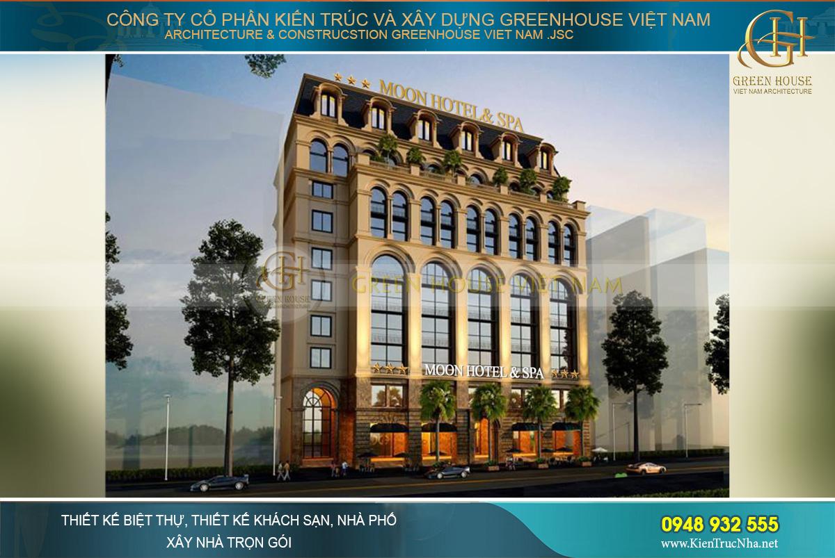 Phối cảnh mặt tiền khách sạn tân cổ điển 10 tầng tại Hải Dương