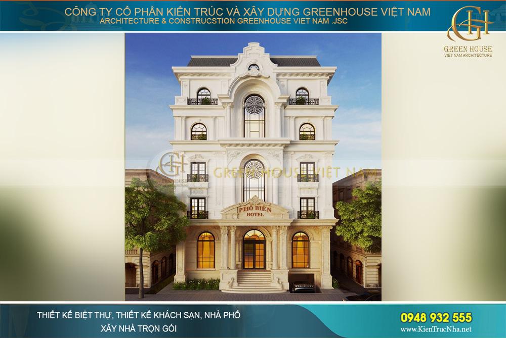 Phối cảnh ngoại thất đẹp tinh tế, lãng mạn của khách sạn tân cổ điển 5 tầng