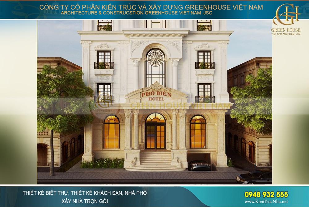 Tầng 1 của khách sạn tân cổ điển được thiết kế với những điểm nhấn lớn, ấn tượng