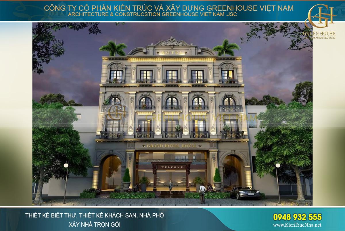 Phối cảnh mặt tiền của khách sạn tân cổ điển 5 tầng tại Nam Định