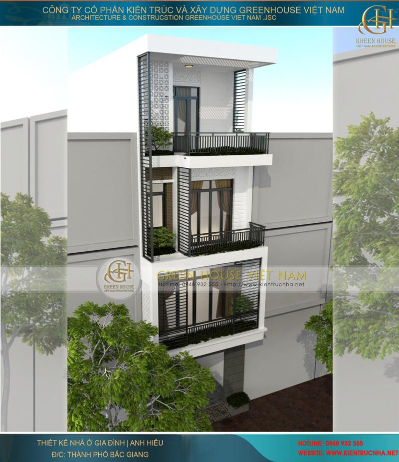 Mặt tiền ngôi nhà nhìn từ trên xuống với mỗi khu vực ban công đều có cây xanh tạo không gian