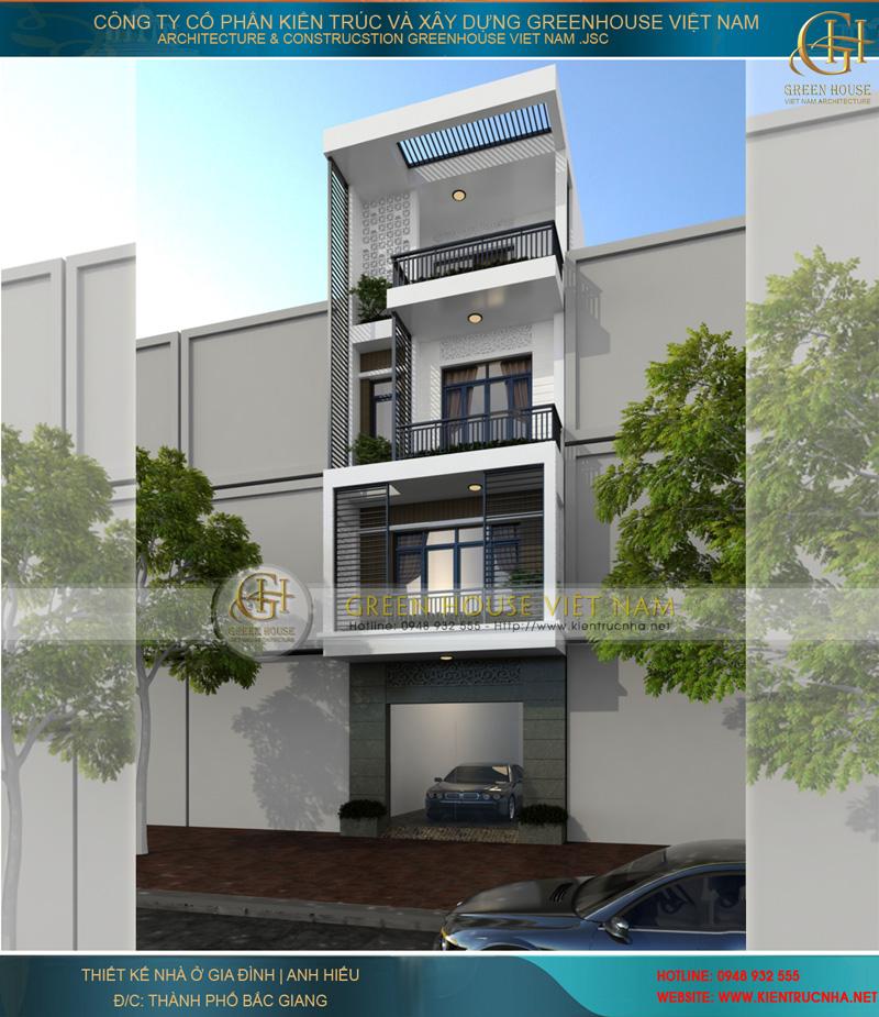 Thiết kế nhà lô phố 4 tầng