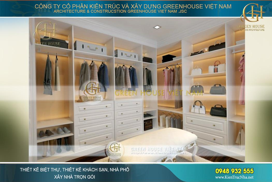 Phòng thay đồ lớn cho khả năng lưu trữ đồ đạc, quần áo cho cả gia đình