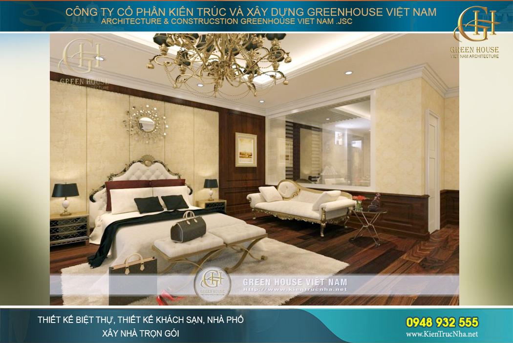 Các món đồ nội thất như bàn trang điểm, sofa nghỉ đều được thiết kế tinh xảo