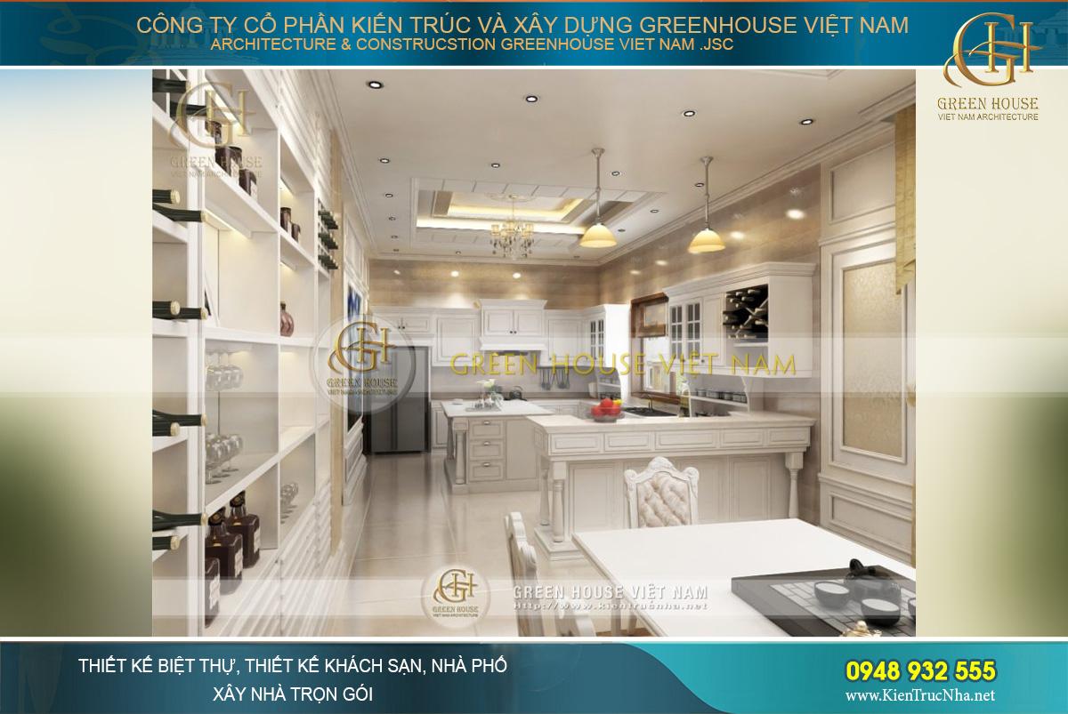 Không gian phòng ăn nối liền với phòng bếp với tông màu trắng đồng bộ