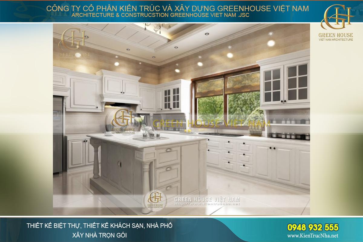 Thiết kế bàn đảo đặt giữa phòng bếp là đặc trưng kiến trúc châu Âu