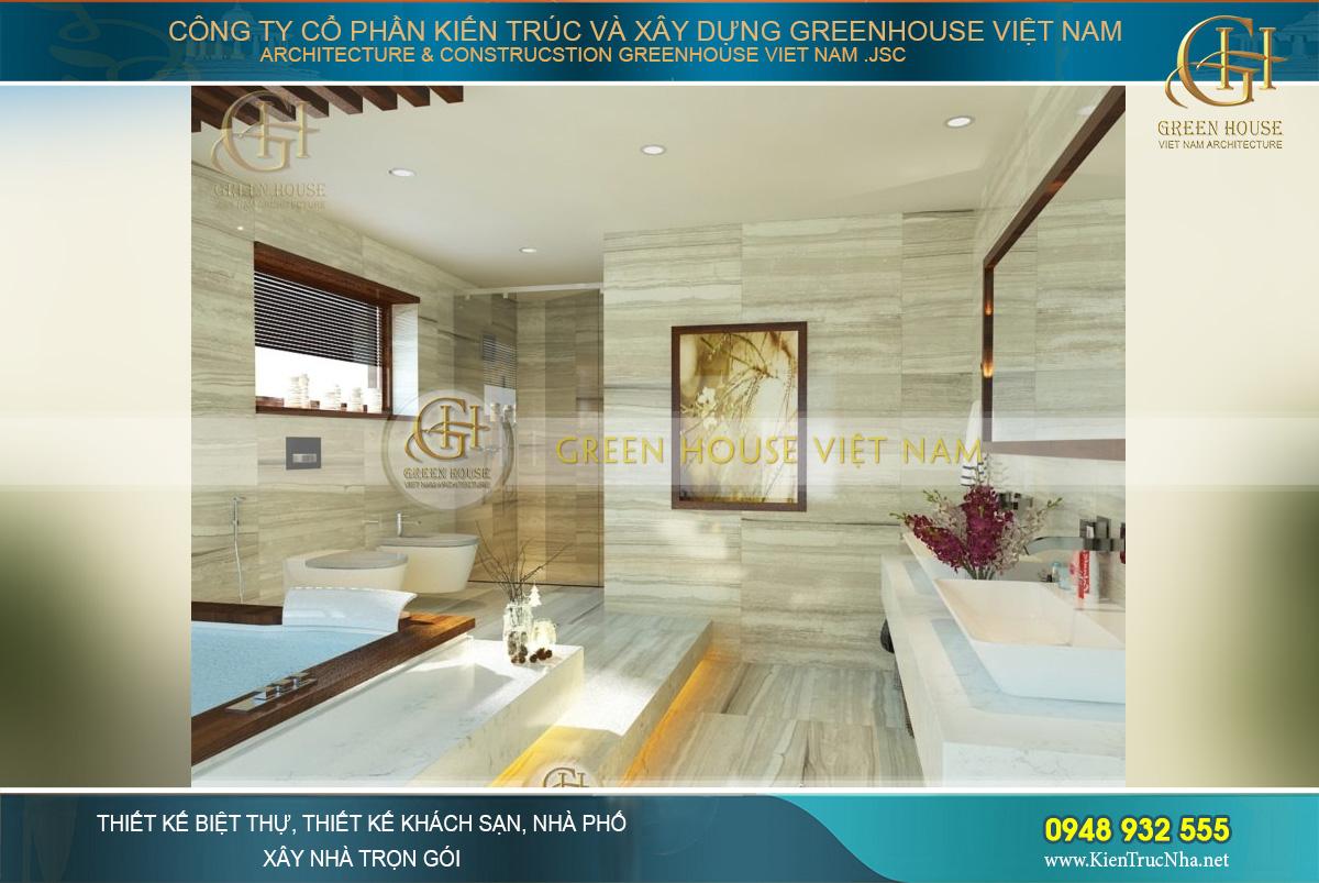 Phòng tắm master với bể tắm lớn và thiết kế gạch giả gỗ ấn tượng, đẳng cấp