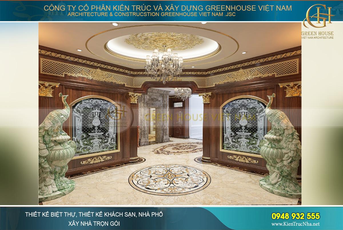 Những khung tường được ốp hoàn toàn bằng gỗ tự nhiên với những bức tranh lớn bằng kính 3D đẹp mắt và nổi bật.