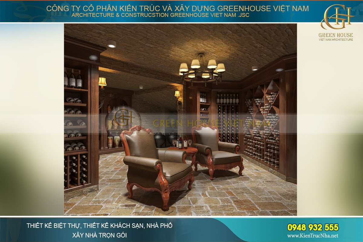Thiết kế hầm rượu mang phong cách châu Âu cổ điển
