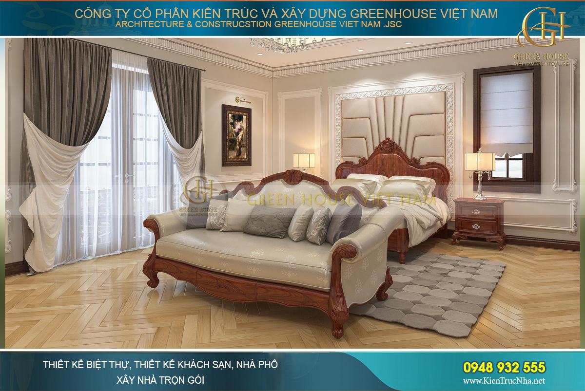 Phòng ngủ khá rộng rãi nhưng không có quá nhiều đồ đạc nội thất