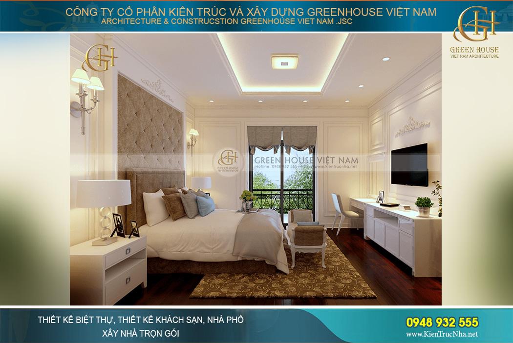 Phòng ngủ master sử dụng tông màu ấm áp với sắc nâu – vàng – màu kem