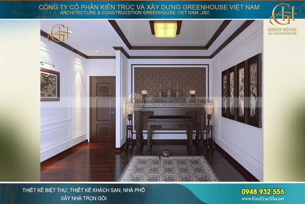Thiết kế nội thất phòng thờ uy nghiêm, trang trọng mà không kém phần tinh tế