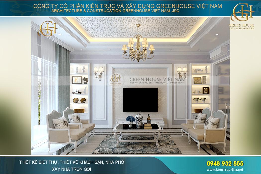 Thiết kế nội thất phòng khách của biệt thự tân cổ điển sang trọng, tinh tế và thanh lịch