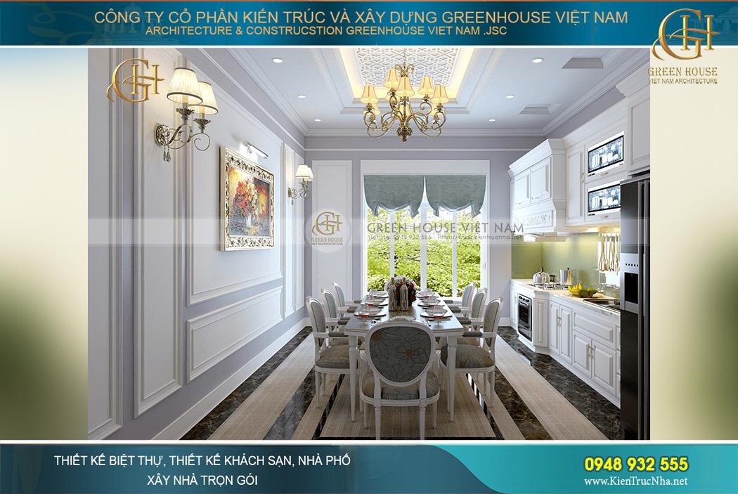 Khung cửa sổ lớn mang đến ánh sáng và gió trời tự nhiên cho phòng ăn