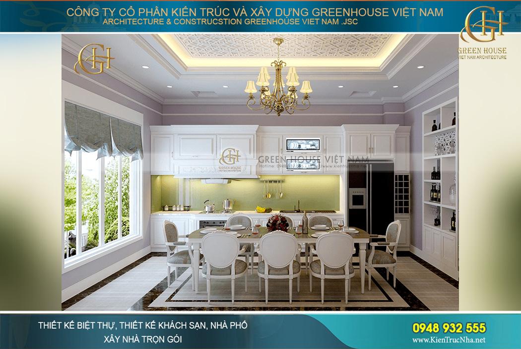 Thiết kế nội thất phòng bếp của biệt thự mang vẻ đẹp hoàn mỹ khiến người không muốn rời bước