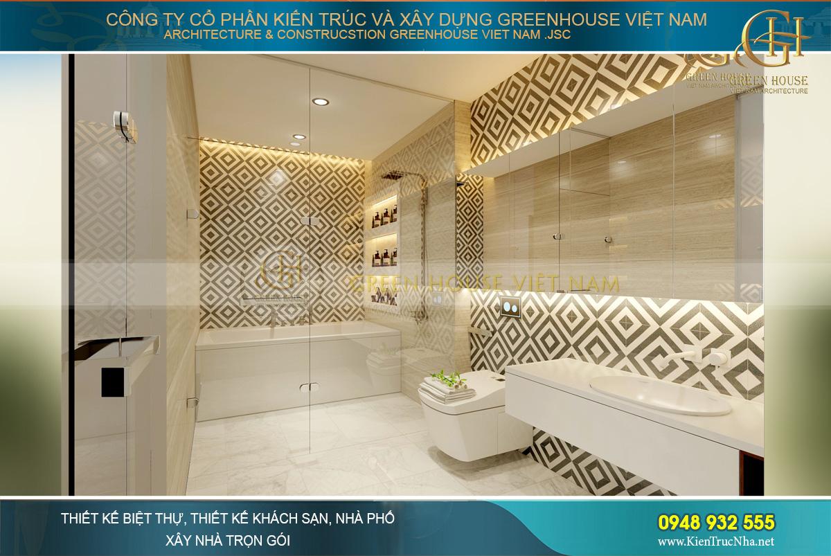 Phòng tắm và vệ sinh khép kín với chất liệu đá trắng trang nhã, tinh xảo