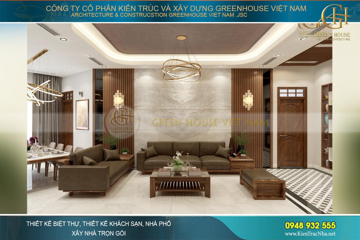 Bộ sofa cao cấp bộ da với thiết kế trần cao rộng thoáng đáng ngưỡng mộ