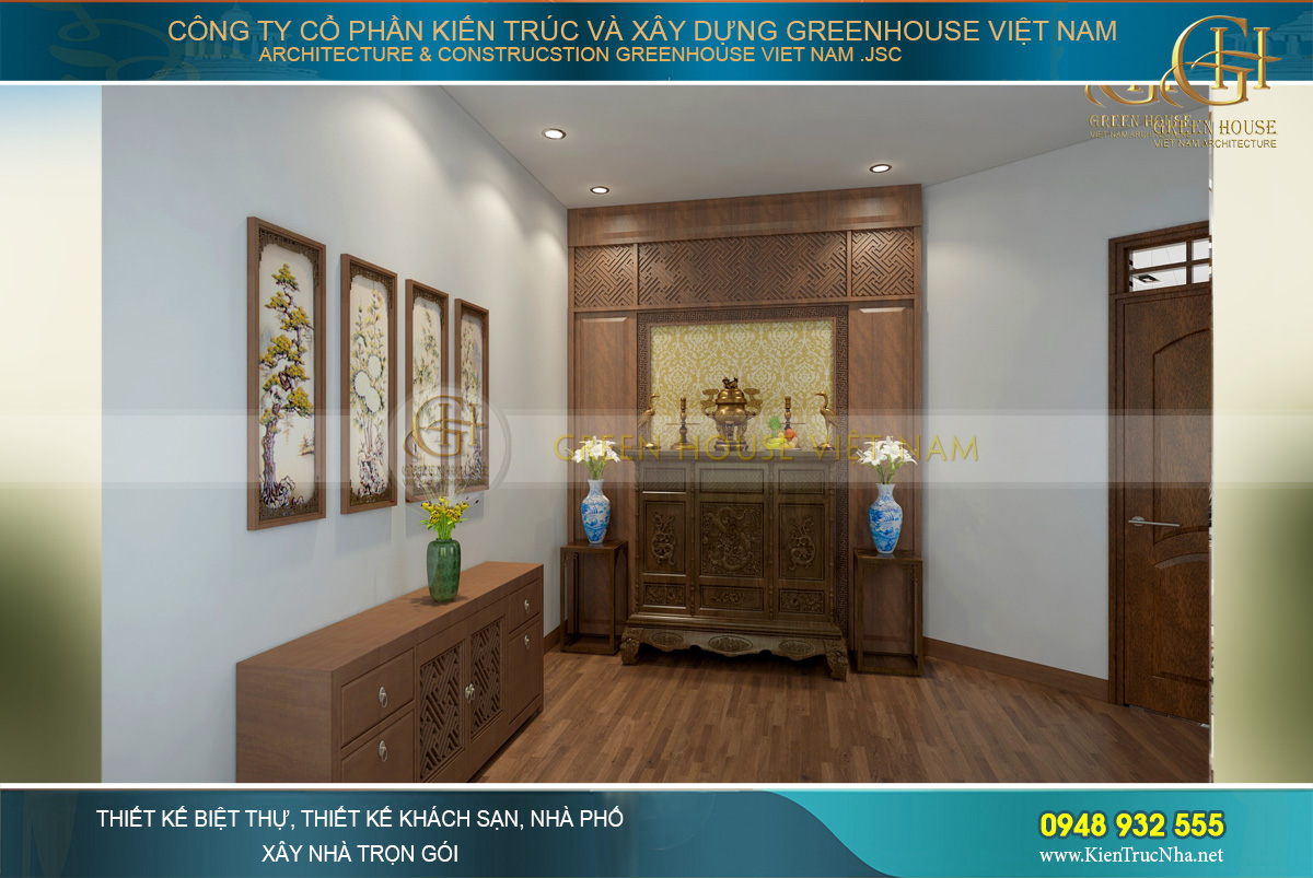 Thiết kế không gian phòng thờ linh thiêng của căn hộ chung cư