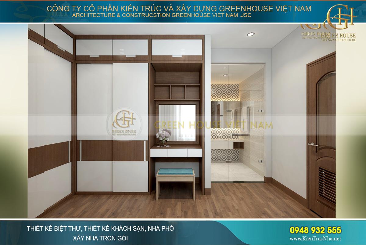 Không gian phòng thay đồ và bàn trang điểm của phòng ngủ master