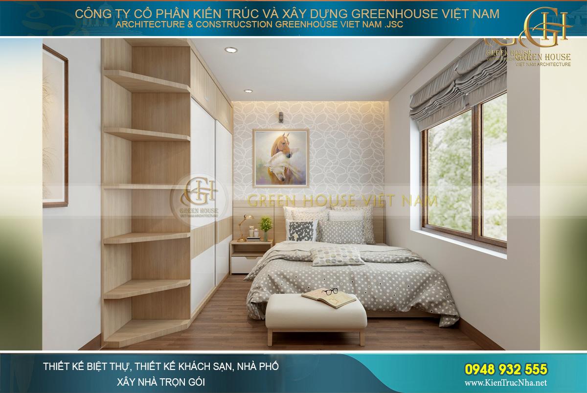 Thiết kế phòng ngủ của con gái với bảng màu thiên trắng tinh khôi