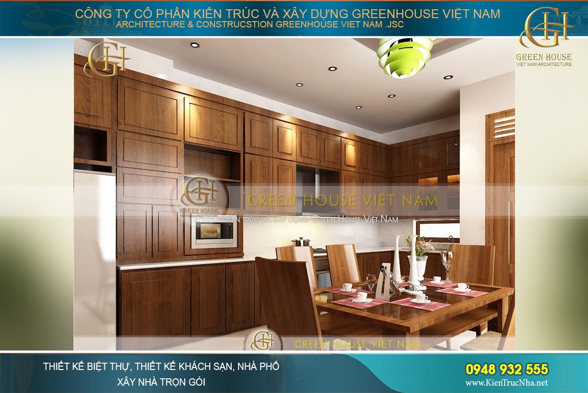 Thiết kế nội thất phòng bếp kết hợp phòng ăn với không gian tràn ngập ánh sáng