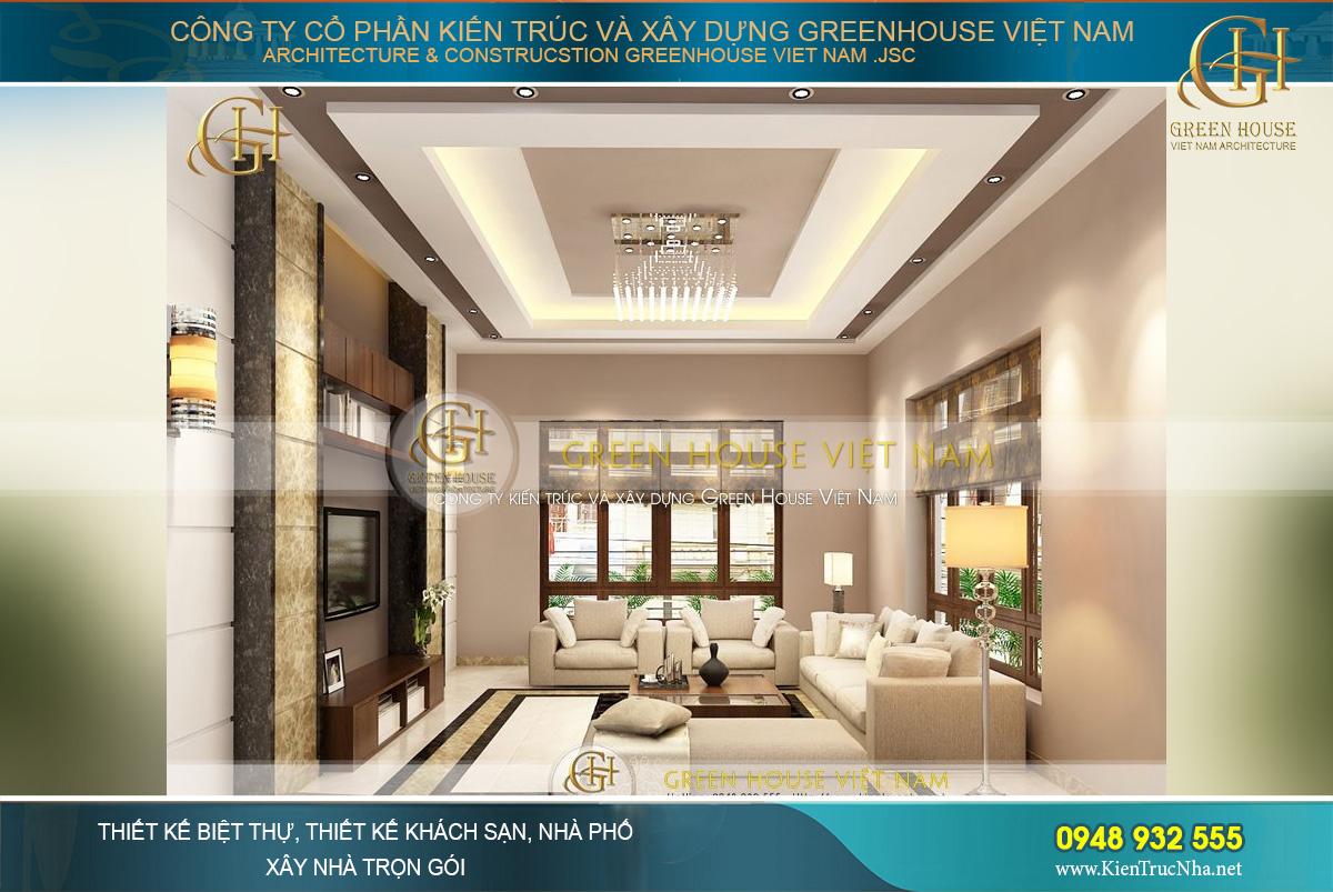 Thiết kế nội thất phòng khách với tone màu trắng – nâu cơ bản mà tinh tế