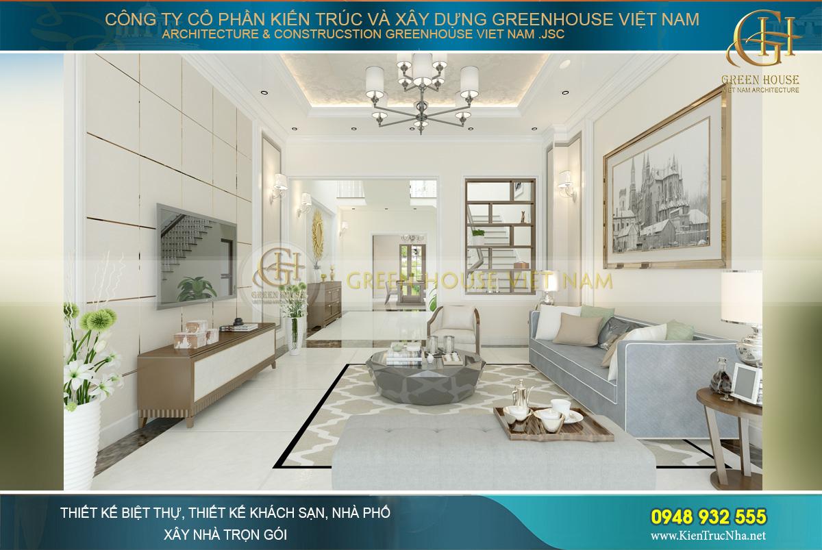 Thiết kế nội thất phòng khách nhà phố hiện đại 4 tầng tại Thái Nguyên