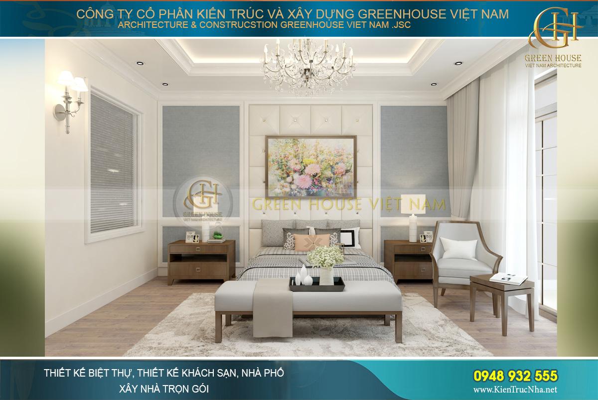 Phòng ngủ master của nhà ống hiện đại 4 tầng tại Thái Nguyên