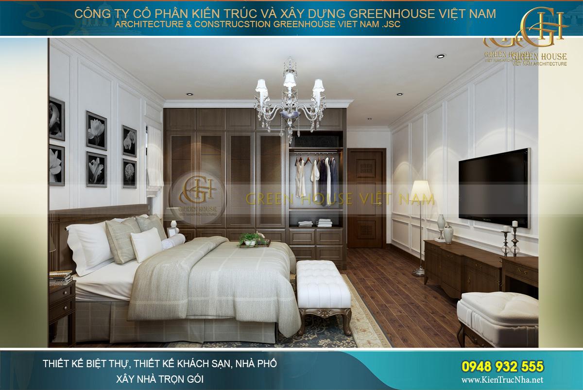 Phòng ngủ khá rộng bởi cách bài trí khéo léo của các KTS Greenhouse VN