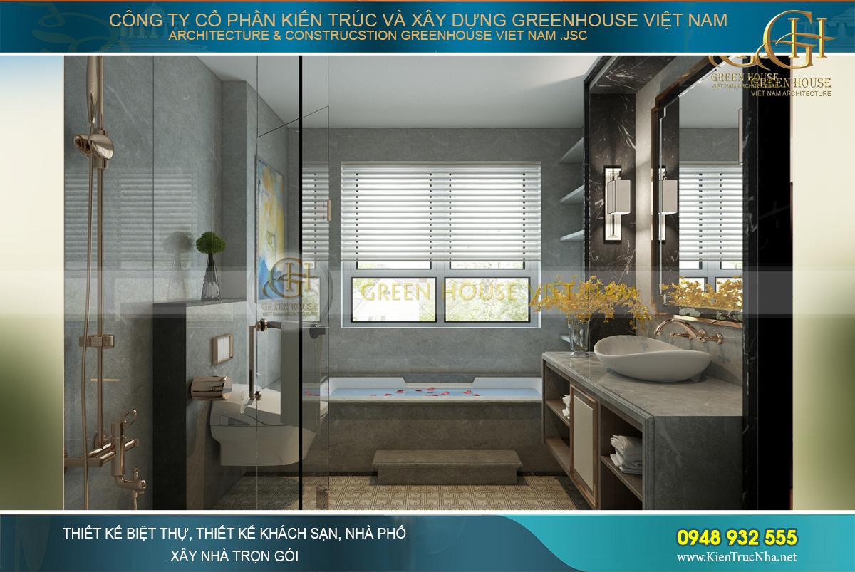 Không gian phòng tắm của phòng ngủ master có bồn tắm lớn
