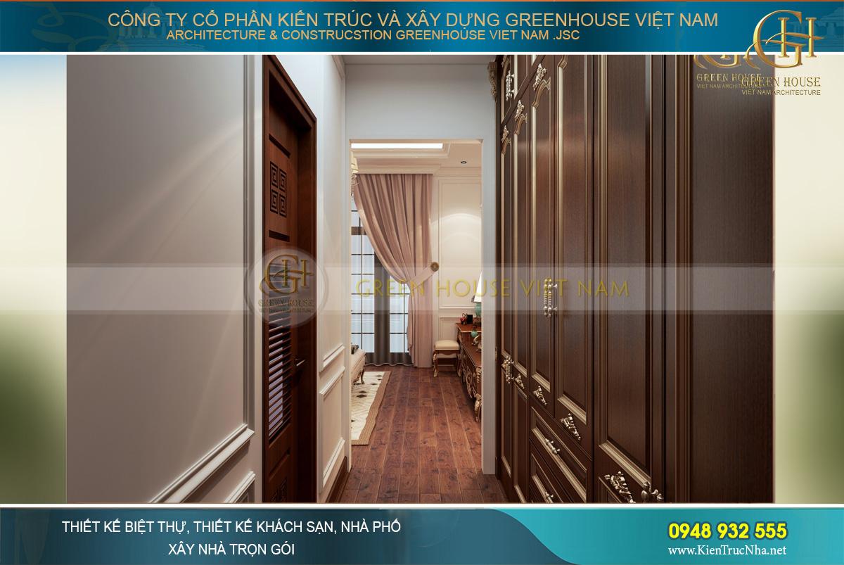 Hướng đi vào phòng thay đồ và phòng vệ sinh riêng của phòng ngủ master