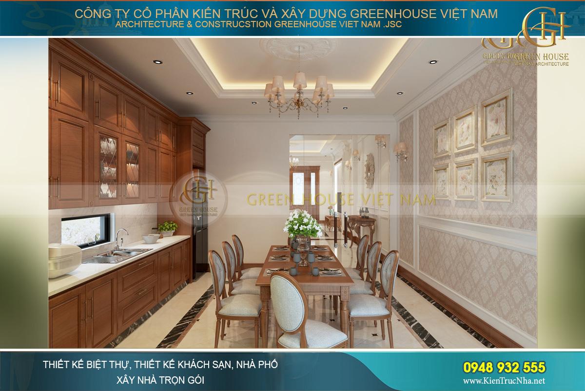 Khu vực kệ bếp được thiết kế sát trần với hình chữ L, tận dụng không gian tối đa nhất
