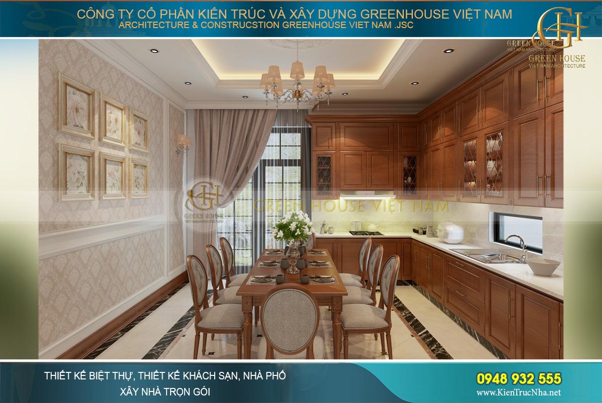 Thiết kế nội thất phòng ăn và phòng bếp của nhà phố 4 tầng tân cổ điển