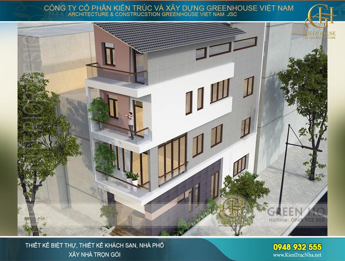 Phối cảnh nhà phố hiện đại 4 tầng mặt tiền 4m tại Hà Nội