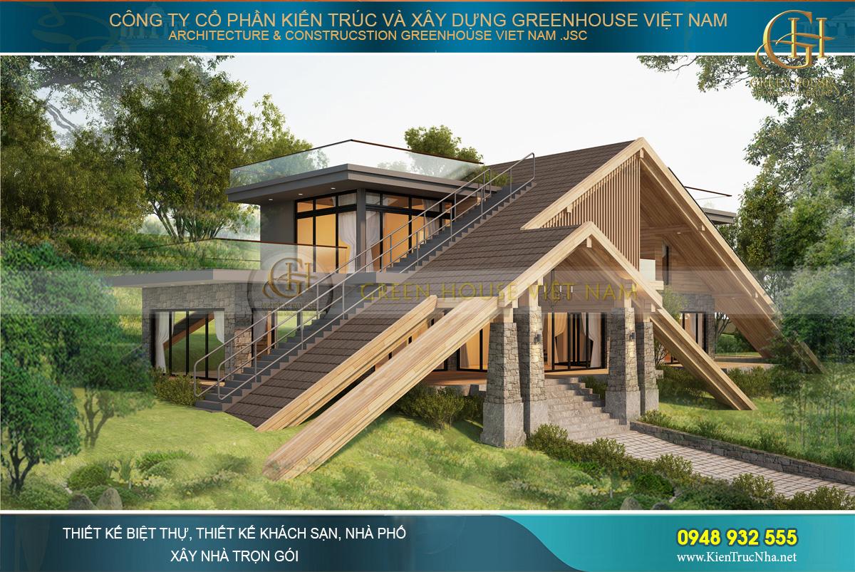 Thiết kế mái biệt thự độc đáo kết hợp hệ thống cầu thang dẫn lên sân thượng