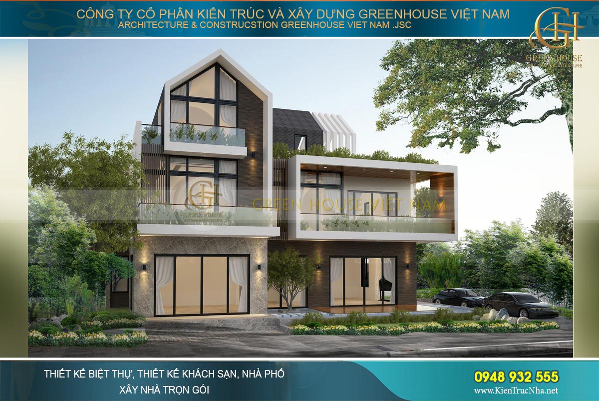 Thiết kế biệt thự hiện đại 3 tầng với kiến trúc bất đối xứng ấn tượng, thu hút