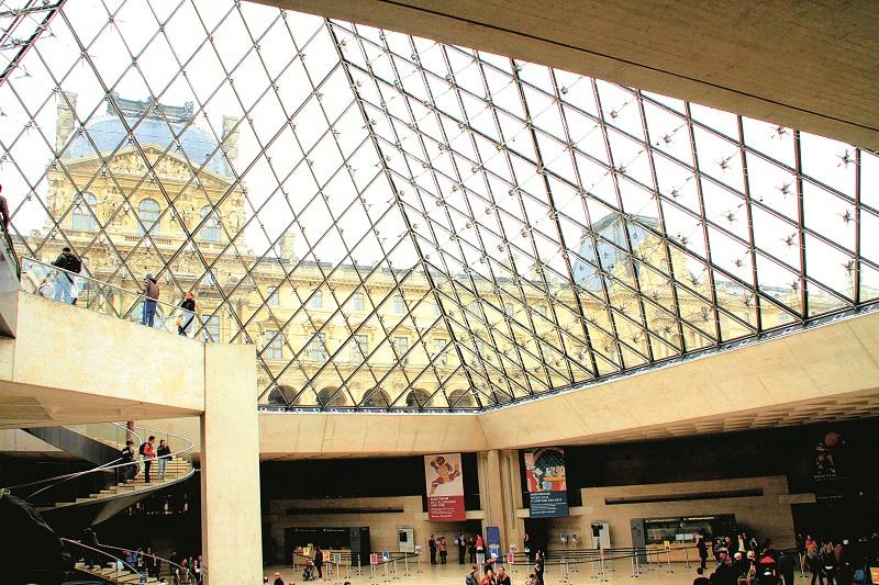 Cánh Richelieu của bảo tàng Louvre nhìn từ bên trong kim tự tháp