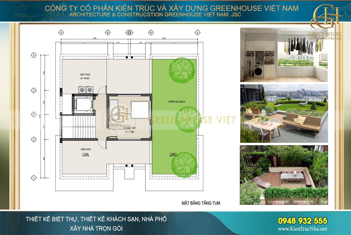 Mặt bằng công năng tầng tum của biệt thự hiện đại 3 tầng tại Hà Nội