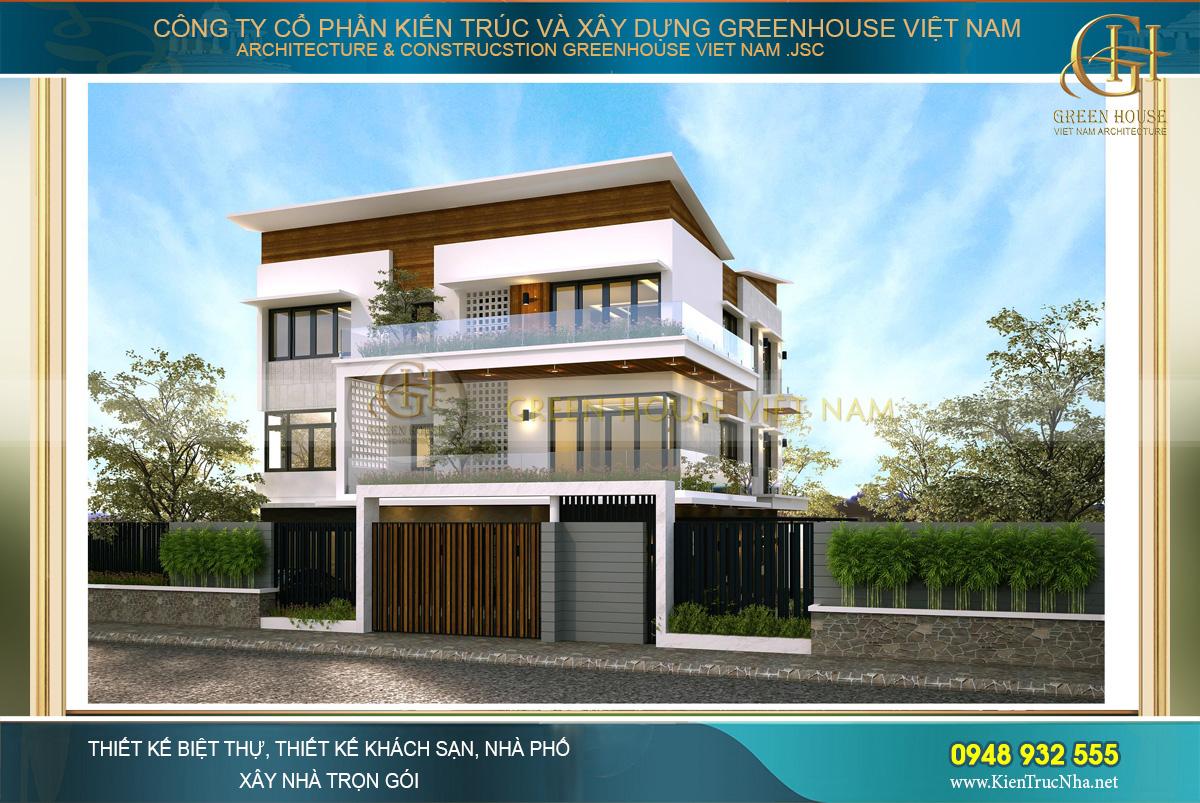 Biệt thự hiện đại 3 tầng được kết hợp giữa 2 tone màu nâu – trắng mang đến cảm giác gần gũi, nền nã