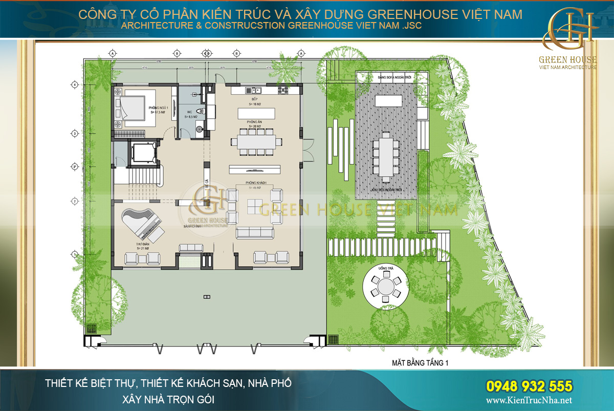 Mặt bằng công năng tầng 1 của biệt thự hiện đại 3 tầng tại Hà Nội