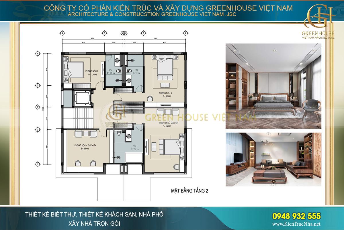 Mặt bằng công năng tầng 2 của biệt thự hiện đại 3 tầng tại Hà Nội