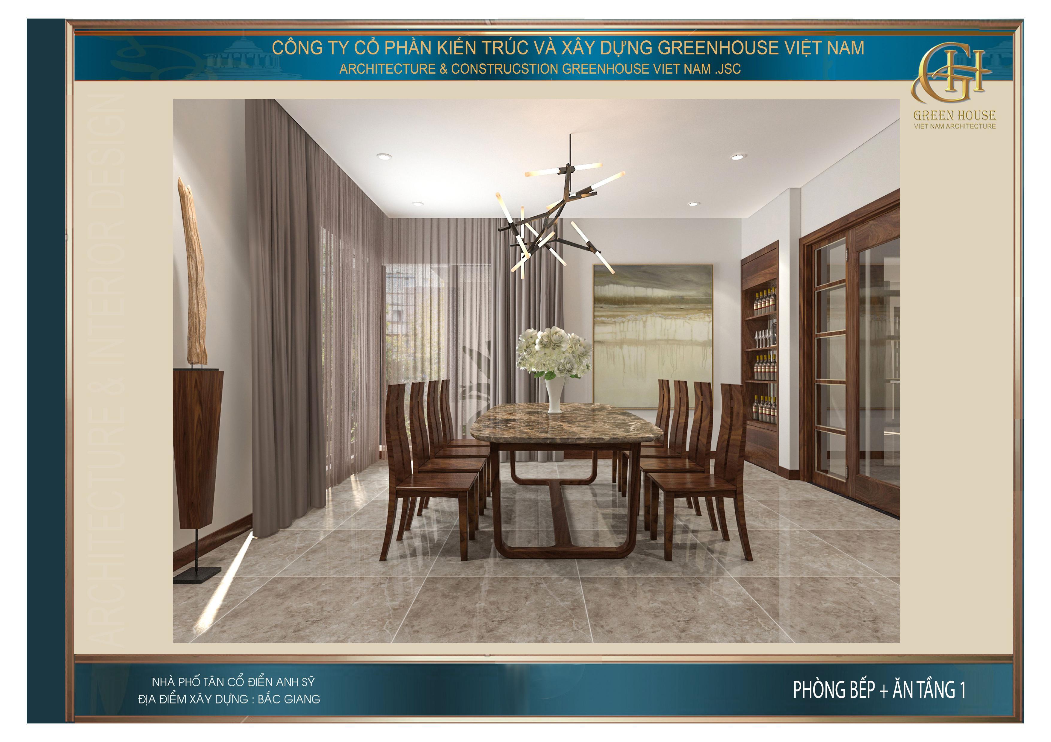 Không gian phòng ăn ngăn cách với phòng khách bằng cửa kính