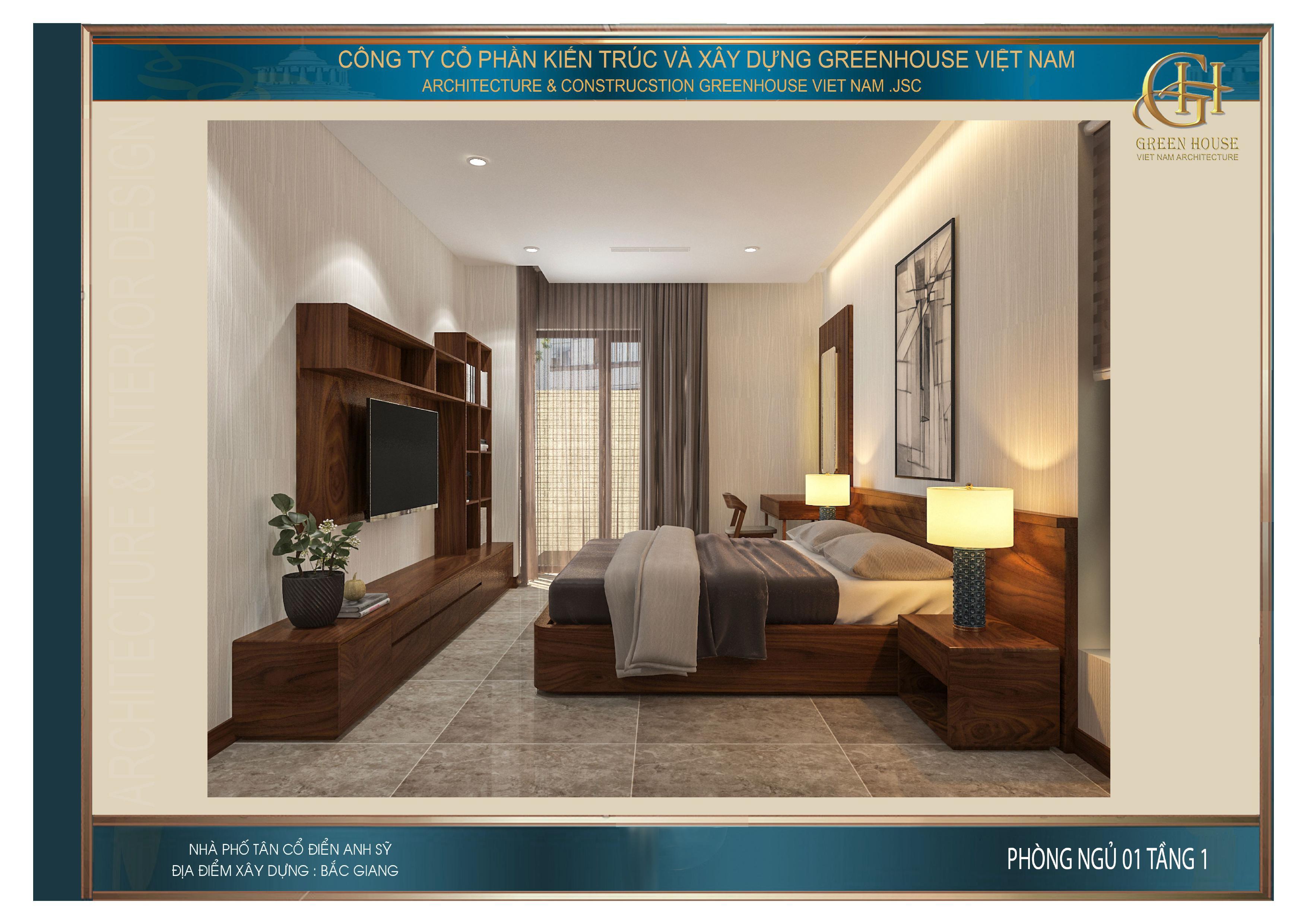 Không gian phòng ngủ dành cho khách tại tầng 1 của nhà phố tân cổ điển