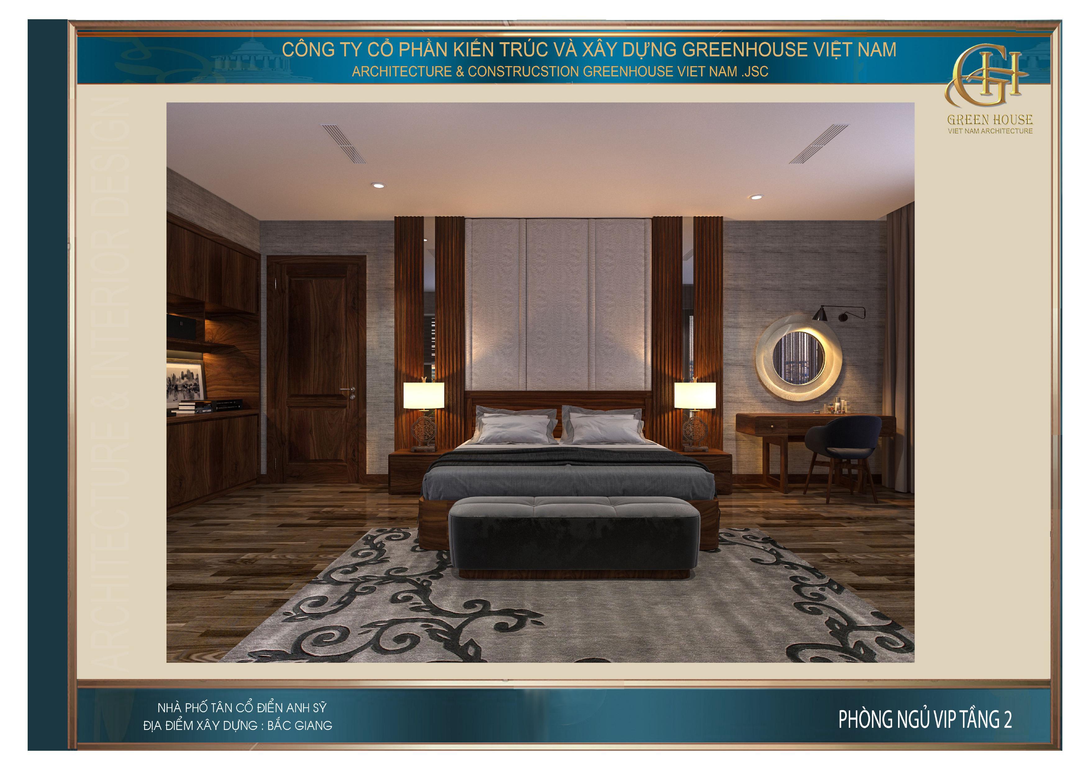 Đồ nội thất gỗ hiện diện trong cả căn phòng
