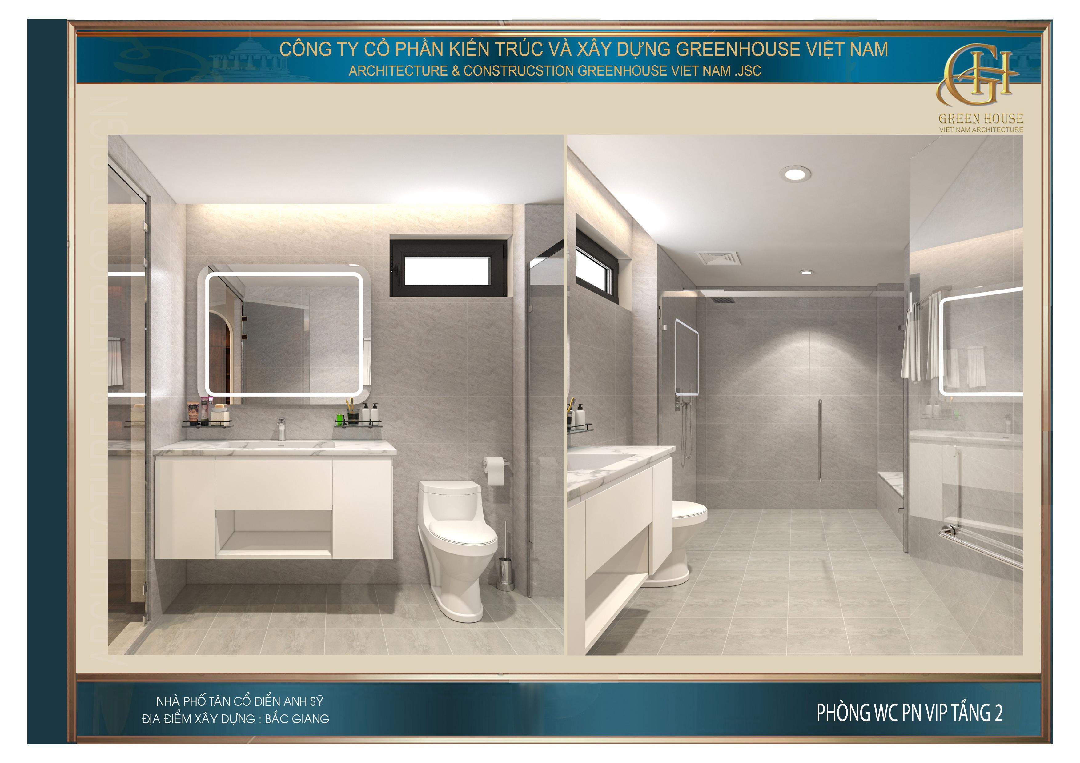 Phòng WC được thiết kế với tone trắng cao cấp